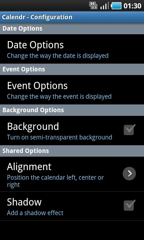 Calendr - screenshot