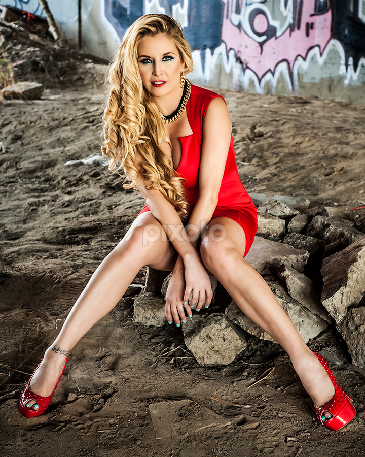 Angel Cassidy by Charles Lugtu - People Portraits of Women ( fashion vandalism, natural light, fashion, angel cassidy, blonde, red, vandalism, mua, graffiti, legs, nik software, nikon, hair, nik,  )