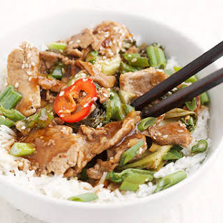 Spicy Orange and Chili Pork Stir-fry with Asian Greens.
