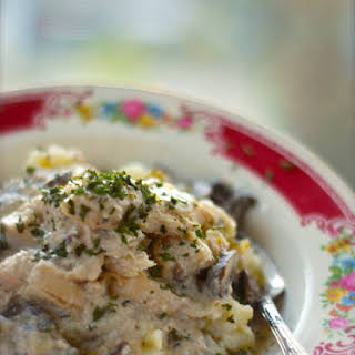 Healthy Crockpot Chicken Stroganoff.