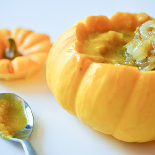 Curried Pumpkin Soup with Maple and Ginger Caramelized Onions