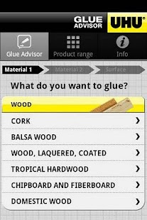UHU Glue Advisor Screenshot