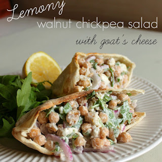Lemony Walnut Chickpea Salad With Goat's Cheese