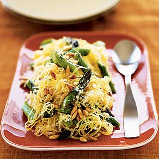 Creamy Spaghetti Squash with Asparagus and Rosemary.
