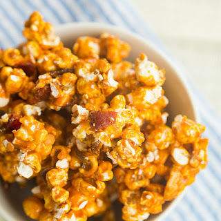 Bourbon Caramel Corn With Chopped Bacon And Roasted Cashews.