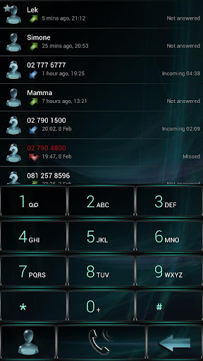 Dialer GlassAqua Metal theme