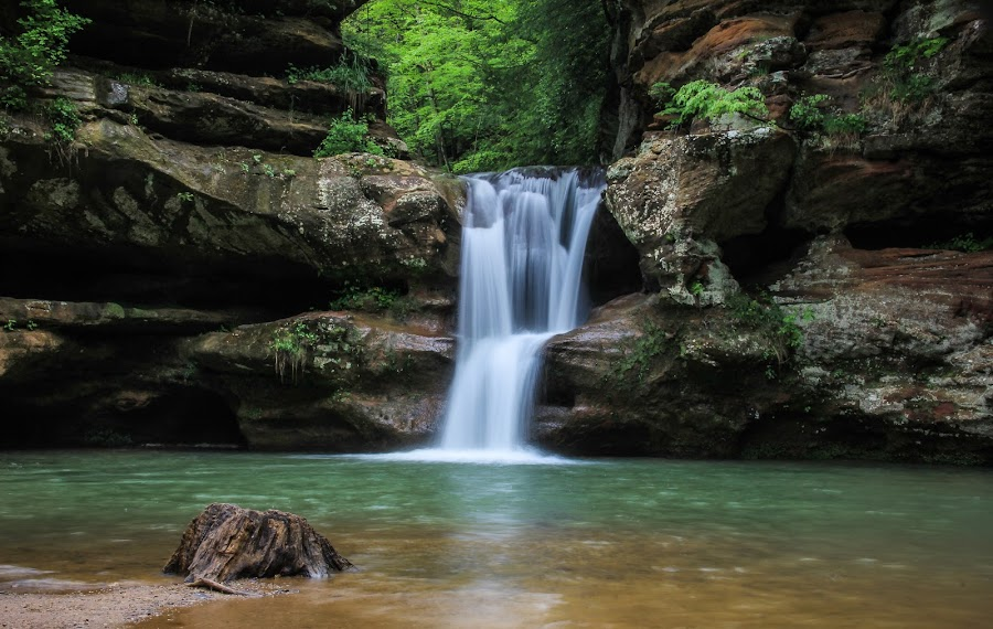 Waterfall by Gary Theresa Hreben - Uncategorized All Uncategorized ( water, ohio, waterfall, hocking hills, rocks,  )