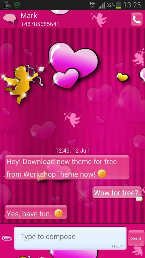 GO SMS Pro Theme lovely pink- screenshot