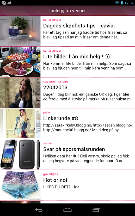 Blogg.no- screenshot