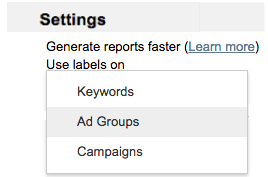 Use labels on drop-down list with ad groups highlighted.