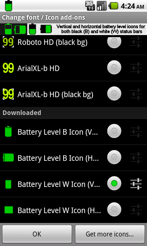 BN Pro Battery Level Icons - screenshot
