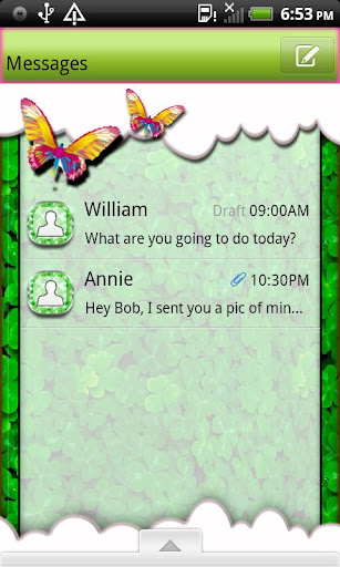 GO SMS THEME ButterflyClover2