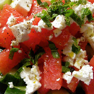 Watermelon and Feta Salad with Cucumber and Mint.