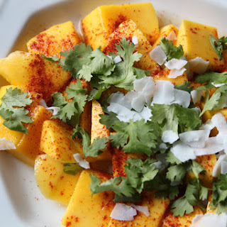 Mango with Cilantro, Coconut, and Chile Powder