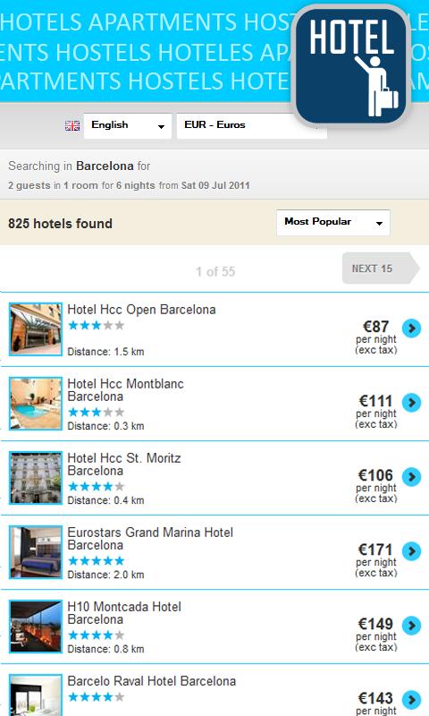 Cheap hotels & hostels deals - screenshot