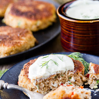 Salmon Cakes with Dill Sauce.