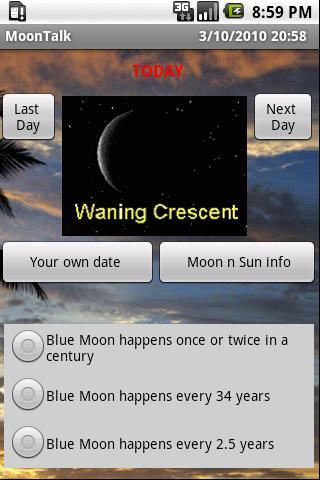Moon and Sun phase, rise/set.. - screenshot