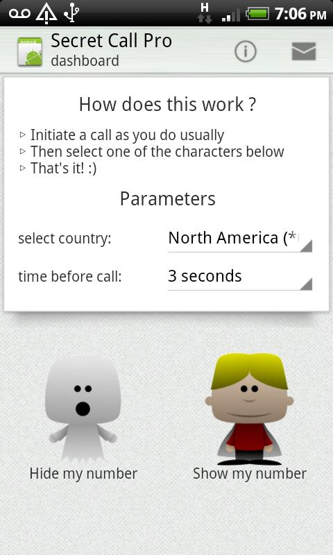 Secret Call - hide Caller ID - screenshot