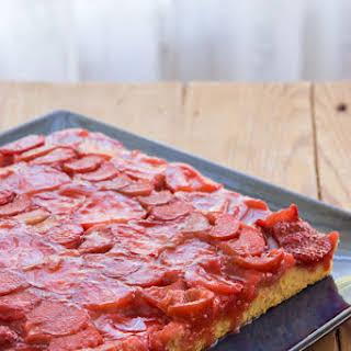 Strawberry Rhubarb Upside-Down Cake.