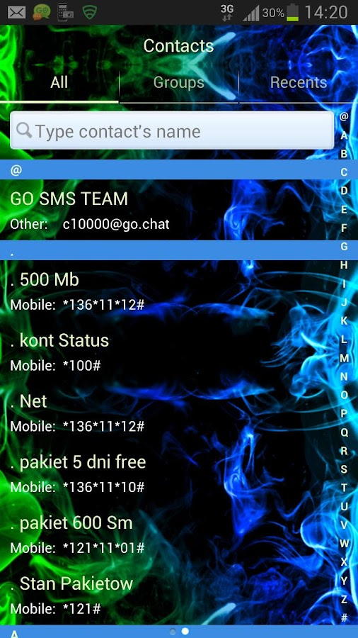 GO SMS Pro Theme green smoke- screenshot