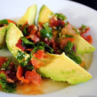Avocado with Warm Bacon Dressing.