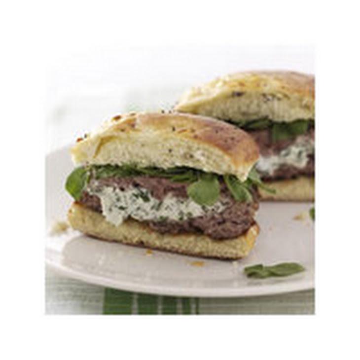 Herbed Cream Cheese-Stuffed Lamb Burgers Recipe
