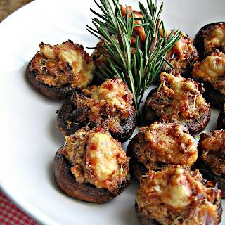 Sausage & Asiago Stuffed Mushrooms with Balsamic Glaze.