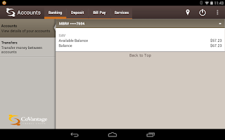 Screenshot of CoVantage Mobile Banking