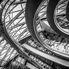 Mayor of London Office by Lee Davison - Black & White Buildings & Architecture ( stairs, london, black and white, silhouette, spiral )