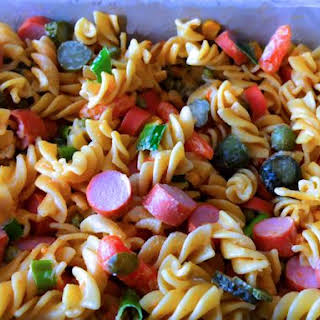 German Cold Pasta Salad with Sausages.