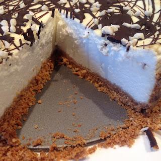 Almond and Dark Chocolate Protein Cheesecake.