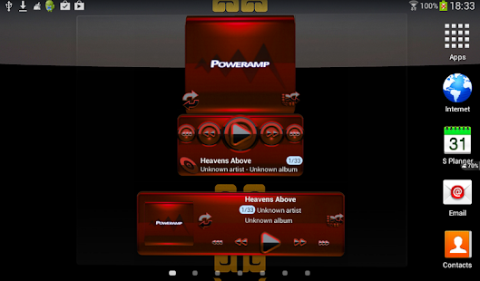 Poweramp skin widget BLACK RED