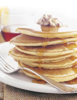 Cornmeal Pancakes with Honey-Pecan Butter