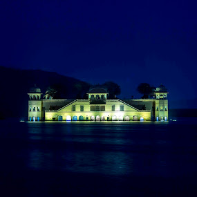 In the Blue by Ashish Garg - Landscapes Waterscapes ( waterscape, india, jalmahal, , purple, yellow, color )