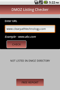 DMOZ Listing Checker - screenshot thumbnail