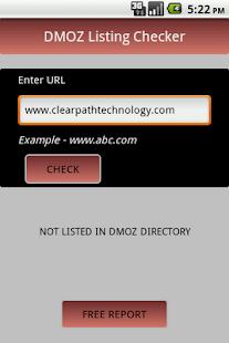 DMOZ Listing Checker - screenshot thumbnail