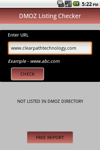 DMOZ Listing Checker - screenshot