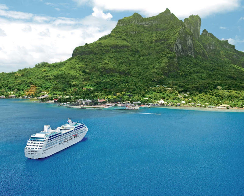 Ocean Princess — the smallest ship in the Princess fleet along with her twin, Pacific Princess — moors off the beautiful tropical paradise of Bora Bora.