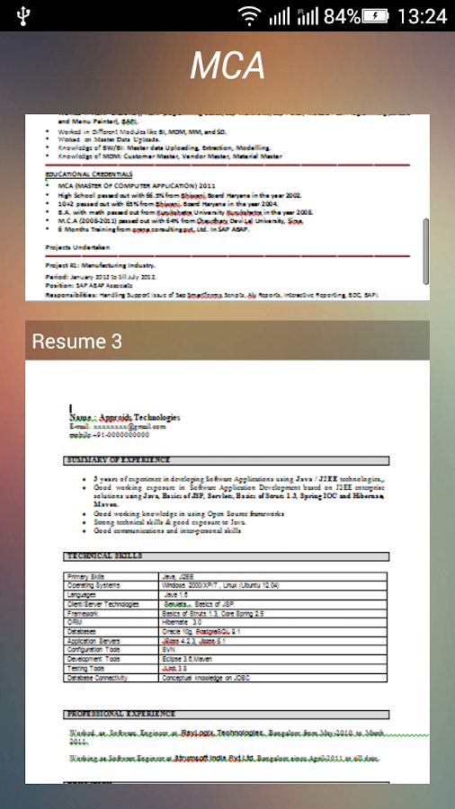 resume formats download screenshot - Download Resume Format