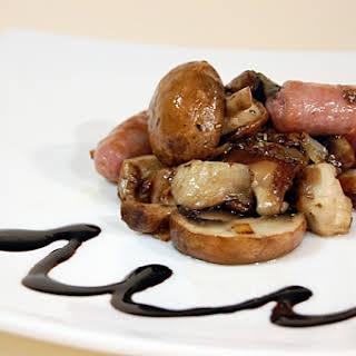 Fried Sausage with Shiitake and Portobello Mushrooms.