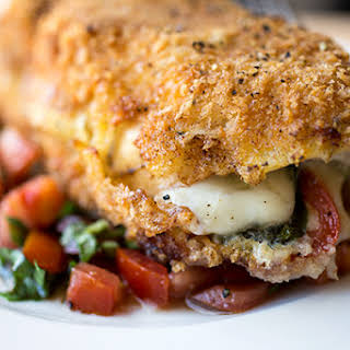 Crispy Stuffed Chicken Caprese with Fresh Mozzarella, Basil and Tomatoes, with Fresh, Tomato-Basil Relish.