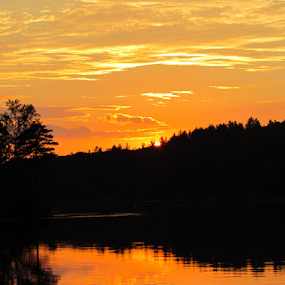 Orange Glow by Alan Hammond - Landscapes Sunsets & Sunrises ( water, orange, sunsets, lakes, glow, #skyscapes, , golden hour, sunset, sunrise )