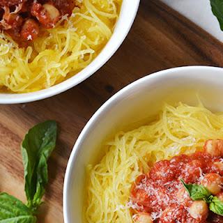Spaghetti Squash with Chickpea Tomato Sauce