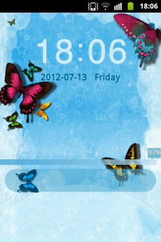 GO Locker Theme Butterfly Blue- screenshot