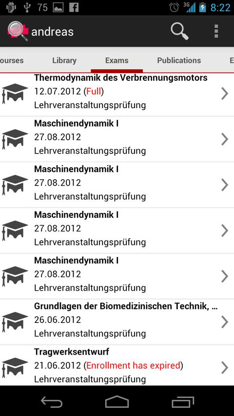 TU Graz Search- screenshot