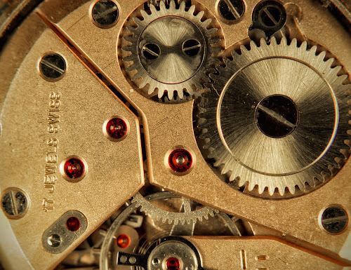 17 Jewels Swiss by Anton Donev - Artistic Objects Jewelry ( detail, machinery, wheel, clock, watch, pinion, mechanism, bizarre, exquisite, tin, gears, ratchet, swiss, time, macro, gear, cog, device, mechanical, jewels, closeup, object )
