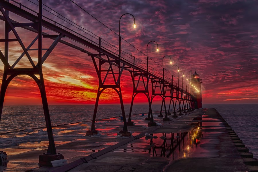 Dusk over the lake by Charles Anderson Jr - Buildings & Architecture Bridges & Suspended Structures ( piers, waterscape, sunset, light house, suspended )