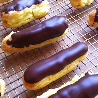 Eclairs with Vanilla Creme and Chocolate Glaze