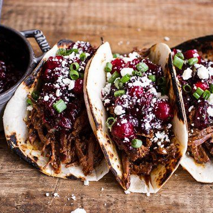 Spicy Slow Cooker Beef Tacos with Cranberry Salsa