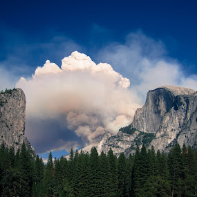 Up in Smoke by Matthew Robertson - Landscapes Mountains & Hills ( half dome, cliff, trees, smoke, fire )